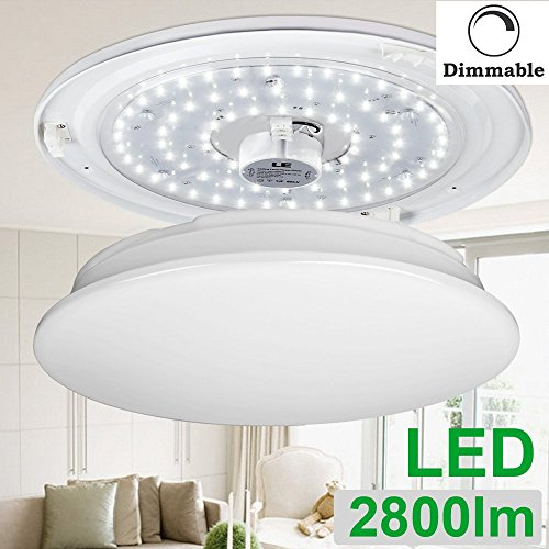 Led Flush Mount Ceiling Light Lampholder Replacement Fixture: LE 40W Dimmable Daylight White 19.3-Inch LED Ceiling