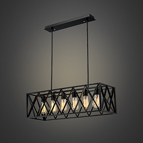 Rectangular Wrought Iron Chandelier Pictures Of Dining: EFINEHOME Efine Vintage Industrial 6 Lights Edison Retro
