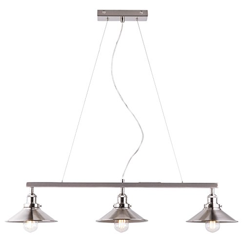 Andante 3 Light Kitchen Island Light Fixture, Brushed