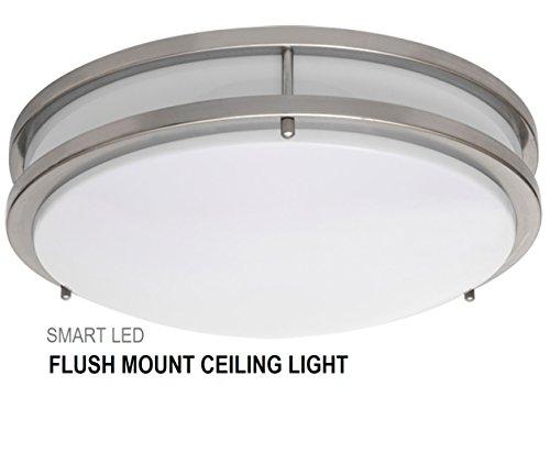Shop Progress Lighting 4 Light Calven Brushed Nickel: SmartLED 16-Inch LED Flush Mount Ceiling Light Fixture