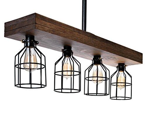 Farmhouse Lighting Triple Wood Beam Rustic Decor