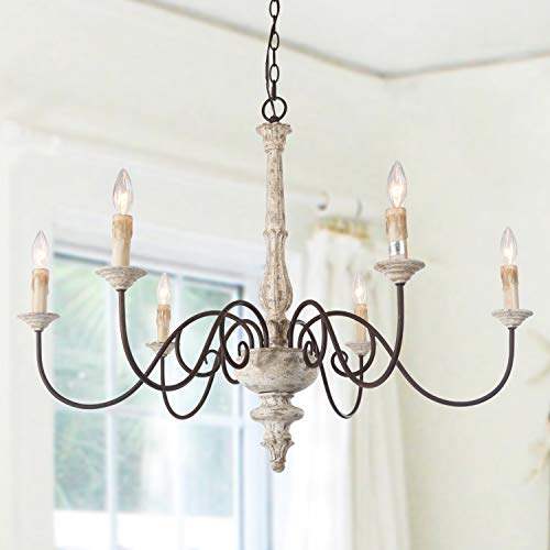 Country Kitchen Chandelier: LALUZ 6-Light French Country Chandelier Distressed